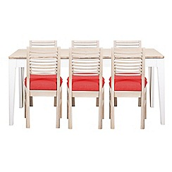 Debenhams - White-washed oak and painted 'Nord' large extending table and 6 chairs with red fabric seats