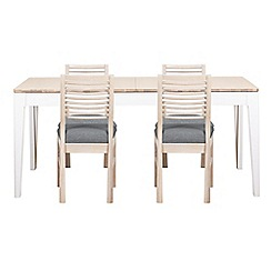 Debenhams - White-washed oak and painted 'Nord' large extending table and 4 chairs with grey fabric seats
