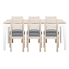 Debenhams - White-washed oak and painted 'Nord' large extending table and 6 chairs with grey fabric seats
