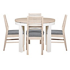 Debenhams - White-washed oak and painted 'Nord' round extending table and 4 chairs with grey fabric seats