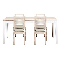Debenhams - White-washed oak and painted 'Nord' large extending table and 4 chairs with ivory fabric seats