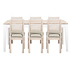 Debenhams - White-washed oak and painted 'Nord' large extending table and 6 chairs with ivory fabric seats
