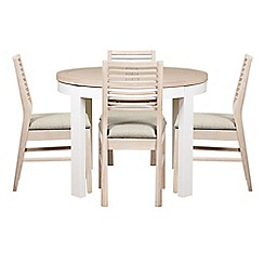 Debenhams - White-washed oak and painted 'Nord' round extending table and 4 chairs with ivory fabric seats