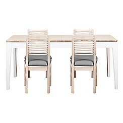 Debenhams - White-washed oak and painted 'Nord' large extending table and 4 chairs with light grey fabric seats