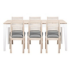 Debenhams - White-washed oak and painted 'Nord' large extending table and 6 chairs with light grey fabric seats