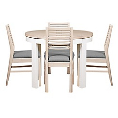 Debenhams - White-washed oak and painted 'Nord' round extending table and 4 chairs with light grey fabric seats
