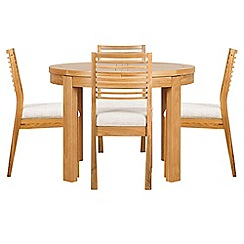 Debenhams - Oak 'Nord' round extending table and 4 chairs with beige fabric seats
