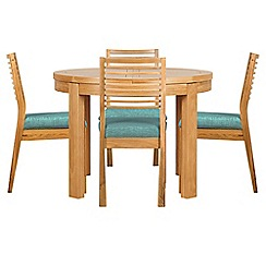 Debenhams - Oak 'Nord' round extending table and 4 chairs with blue fabric seats
