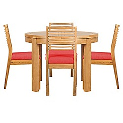 Debenhams - Oak 'Nord' round extending table and 4 chairs with red fabric seats