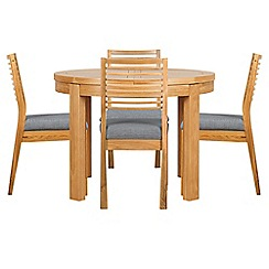 Debenhams - Oak 'Nord' round extending table and 4 chairs with grey fabric seats