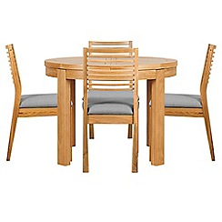 Debenhams - Oak 'Nord' round extending table and 4 chairs with light grey fabric seats