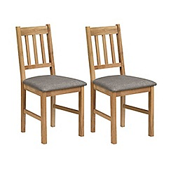 Debenhams - Pair of oak 'Chester' chairs with grey fabric seats