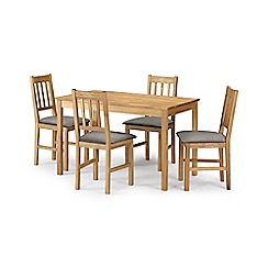 Debenhams - Oak 'Chester' fixed-top table and 4 chairs with grey fabric seats