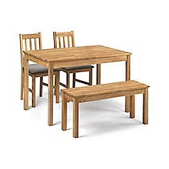 Debenhams - Oak 'Chester' fixed-top table, 2 chairs with grey fabric seats and bench