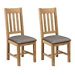 Debenhams - Pair of oak 'Arlington' chairs with grey fabric seats