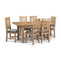 Debenhams - Oak 'Arlington' extending table and 6 chairs with grey fabric seats