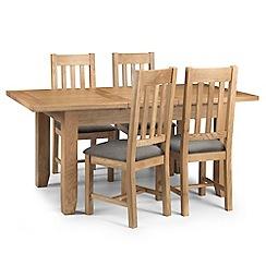 Debenhams - Oak 'Arlington' extending table and 4 chairs with grey fabric seats