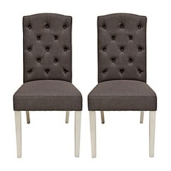 Willis & Gambier - Pair of charcoal grey 'Stanza' button back upholstered dining chairs