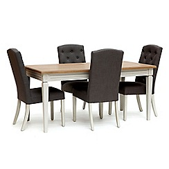 Willis & Gambier - Oak and painted 'Florence' extending table and 4 charcoal grey 'Stanza' chairs