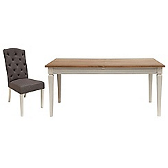 Willis & Gambier - Oak and painted 'Florence' extending table and 6 charcoal grey 'Stanza' chairs