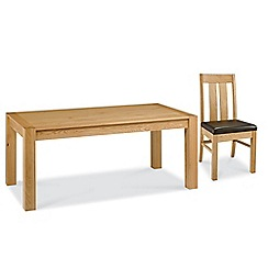 Debenhams - Oak 'Lyon' extra-large extending table and 6 slatted back chairs