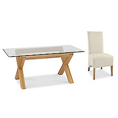 Debenhams - Oak and glass 'Lyon' table and 4 ivory upholstered chairs