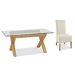 Debenhams - Oak and glass 'Lyon' table and 6 ivory upholstered chairs