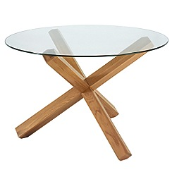 Debenhams - Oak and glass 'Lyon' round table