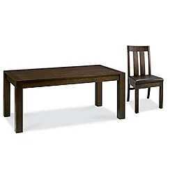 Debenhams - Walnut 'Lyon' small extending table and 4 slatted back chairs