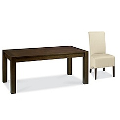 Debenhams - Walnut 'Lyon' small extending table and 6 ivory upholstered chairs