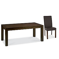 Debenhams - Walnut 'Lyon' fixed-top table and 6 brown upholstered chairs