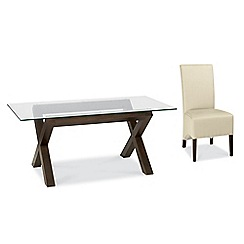 Debenhams - Walnut 'Lyon' glass-top table and 4 ivory upholstered chairs