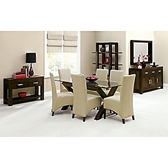 Debenhams - Walnut 'Lyon' glass-top table and 6 ivory upholstered chairs