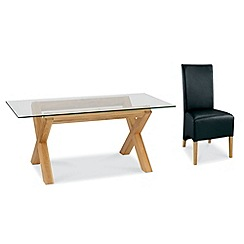Debenhams - Oak and glass 'Lyon' table and 4 black upholstered chairs