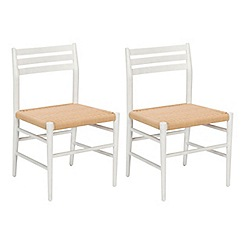 J by Jasper Conran - Pair of white 'Farringdon' dining chairs with natural woven seats