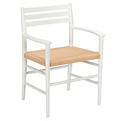 J by Jasper Conran - White 'Farringdon' carver chair with natural woven seat