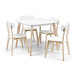 Debenhams - Oak effect and white 'Cassina' fixed-top table and 4 chairs