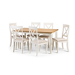 Debenhams - Oak and white 'Devon' fixed-top table and 6 chairs