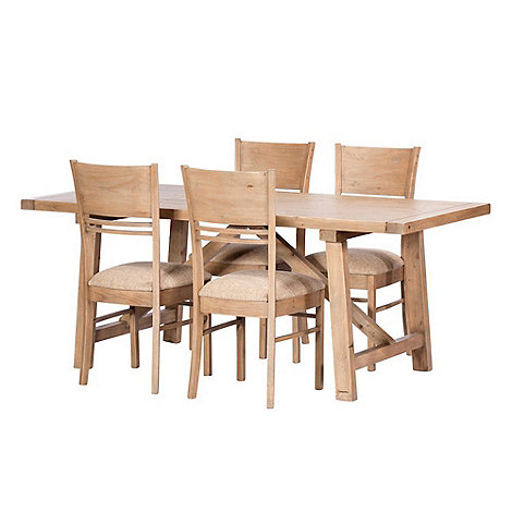 Debenhams Reclaimed Wood Toscana Fixed Top Dining Table And 4 Chairs