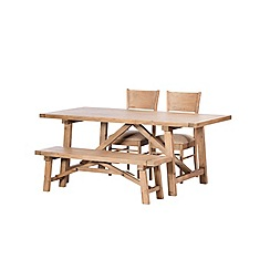 Debenhams - Reclaimed wood 'Toscana' fixed-top dining table with 2 chairs and a bench
