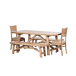 Debenhams - Reclaimed wood 'Toscana' fixed-top dining table with 2 chairs and benches