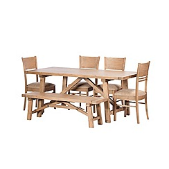 Debenhams - Reclaimed wood 'Toscana' fixed-top dining table with 4 chairs and a bench