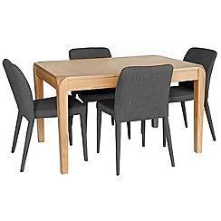 Willis & Gambier - Oak 'Oslo' extending table and 4 grey fabric chairs