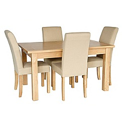 Willis & Gambier - Ash 'Colorado' extending table and 4 beige fabric chairs