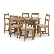 Debenhams Pair Of Oak Fenton Chairs With White Seat Pads