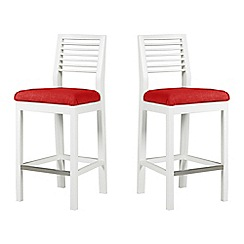 Debenhams - Pair of white 'Nord' barstools with red fabric seats