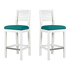 Debenhams - Pair of white 'Nord' barstools with blue fabric seats