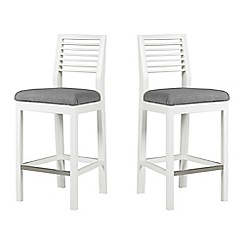 Debenhams - Pair of white 'Nord' barstools with grey fabric seats