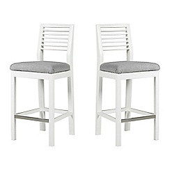 Debenhams - Pair of white 'Nord' barstools with light grey fabric seats