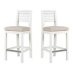 Debenhams - Pair of white 'Nord' barstools with beige fabric seats